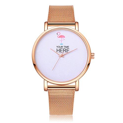 Sepbear Damenuhr Analog Quarz Armbanduhr Elegant Einfach Mode mit Edelstahl Armband und Flamingo Design Zifferblatt (Shirt Armbänder)