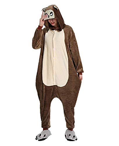 Ovender® Kigurumi Pigiami Animali Unisex Donna Uomo Costume Carnevale Halloween Cosplay Unicorno Orsetto Coniglio Lupo Pinguino Panda Festa Party Zoo Onesies Tuta Anime (X-Large, Scimmia 3)