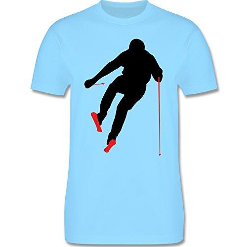 Wintersport - Abfahrt Skipiste - Herren Premium T-Shirt Hellblau