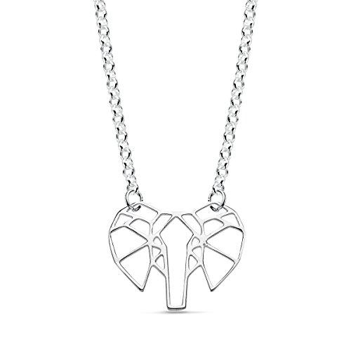 Iyé Biyé Jewels - Collar mujer niña plata de ley 925 elefante calado cadena rolo 42 cm ajustable.