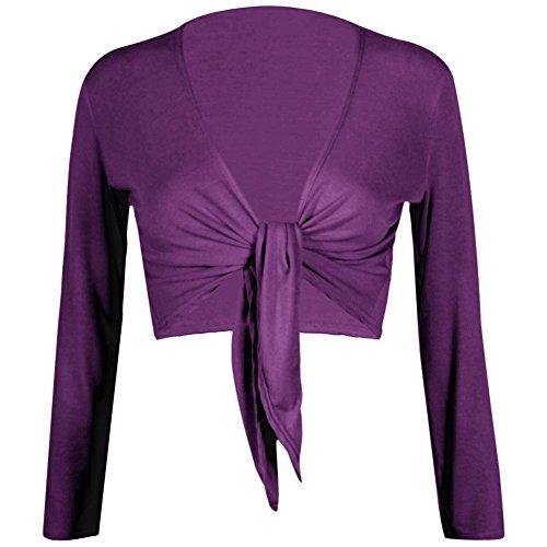 Janisramone Frauen Lange Ärmel Krawatte vordere Bolero abgeschnitten Achselzucken oberen Strickjacke -
