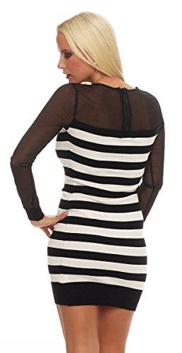 Fashion4Young - Robe - Femme bleu Schwarz XS=36 1-schwarz-weiss