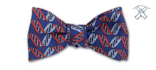 Josh Bach Mens DNA Strand Self-Tie Silk Bow Tie Blue, Made in USA Blue Silk Bow Tie