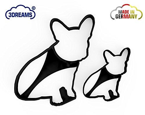 3DreamsDesign 2er Set Ausstecher French Bulldog Frenchy in Schwarz Französische Bulldogge Ausstechform Hund Keksausstecher