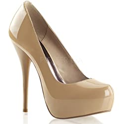 Pleaser Day & Night - Gorgeous-20 - Sexy edle High Heels, Plateau Pumps, Lack-Leder, Beige, 35-41