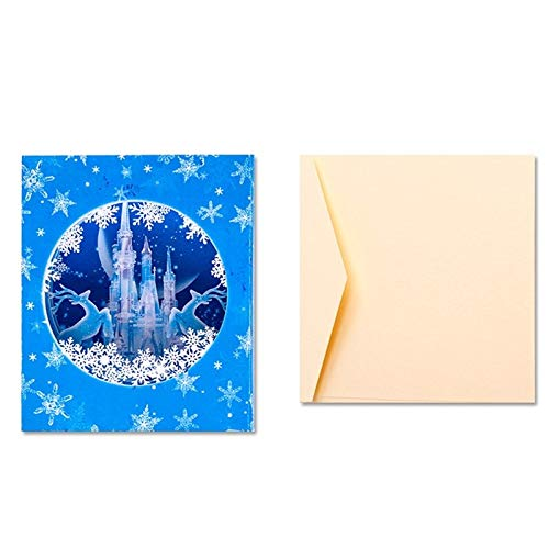 Vazan - Handmade 3D-Pop-Up-Eis-Schloss-Schneeflocke-Rotwild-Gruß-Feiertags-Karte Frohe Weihnacht-Geschenk