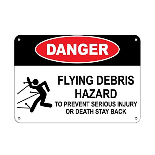 Vincentney Tin Sign Danger Flying Debris Hazard to Prevent Injury Or Death Sign Wall Decor Retro New Metal Sign Aluminum 8x12 INCH -
