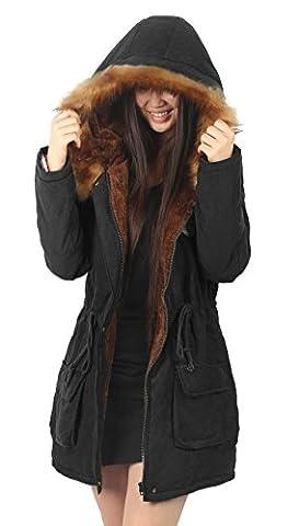 4How mantel damen schwarz lang winter parka madchen fell mit fell kapuze duffle coat,Etikett US14