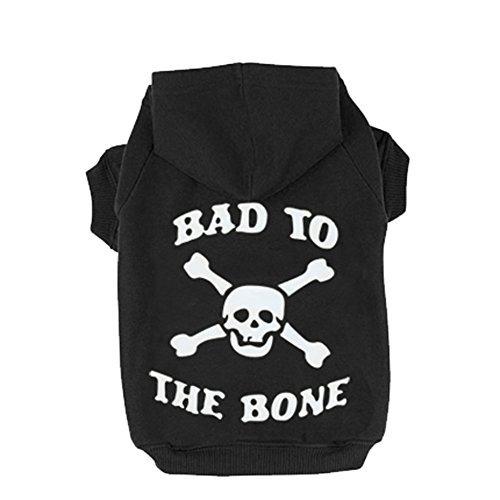 EXPAWLORER Bad to The Bone Bedruckt Totenkopf Cat Fleece Sweatshirt Dog Hoodies, XXL: 30