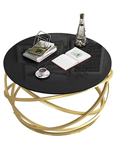 Table d'appoint de Petit Appartement élégant/Table d'appoint Ronde créative, Table Ronde en Verre trempé de Salon Moderne Simple, Noir (60 × 60 × 45 cm)