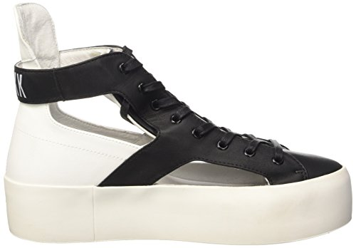 Bikkembergs Pow-Er 600 M.Shoe Cut Out W Leather, Sneakers Hautes Femme Noir (Black/White)