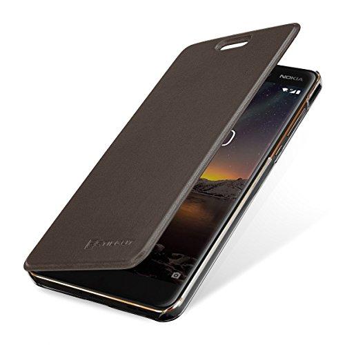 StilGut Berlin Book Type Case, Hülle aus Leder und durchsichtiges TPU Nokia 6.1. Seitlich klappbares Flip-Case mit NFC/RFID Blocker. Braun/transparent