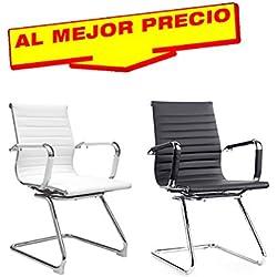 SILLAS DE ESCRITORIO MODELO LUNDY, SILLA OFICINA ELEGANTE, SILLA DE OFICINA SILLON DE DESPACHO ESTUDIO DIRECCION FIJA ACABADO CROMADO - OFERTAS HOGAR Y OFICINA -¡AL MEJOR PRECIO!-DISPONIBLE EN VARIOS COLORES (Blanco)