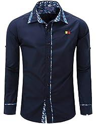 T-shirt À Manches Courtes Pour Hommes Chemise À Coller De L'automne Bouton M-2XL