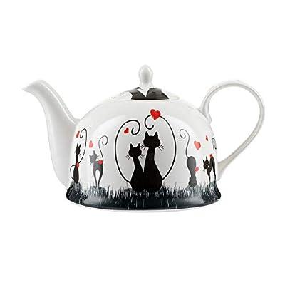 """Théière Igloo Jameson & Tailor/Théière de""""Aimer les chats"""" / Cafetière en porcelaine brillante de 1200 ml/Convient aux lave-vaisselle et micro-ondes"""