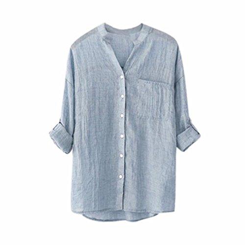 iHENGH Bluse Damen Sommer Stehkragen Langarm Casual Button Down T-Shirt Tops Plus Größe (Schulterfreies Samt-korsett)