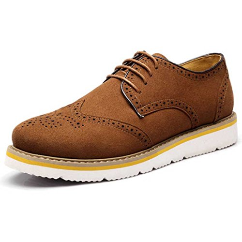 Men's Cut Out Brogue Leather Platform Flats Casual Shoes yellow