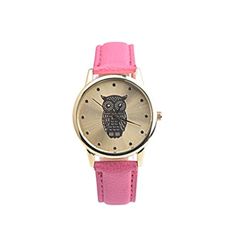 harrystore-womens-retro-owl-design-leather-band-analog-alloy-quartz-wrist-watch-hot-pink