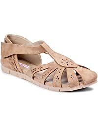 Meriggiare Women Beige Synthetic Flats