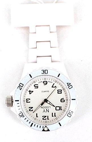 Blanco NY de enfermera de Londres/paramédico/Diseño elegante medical de coche de goma reloj esfera blanca
