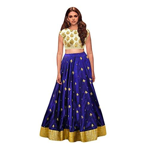 Vastra Villa Women's Taffeta Silk Lehenga Choli(Royal_Rainbow_Blue_Free Size)