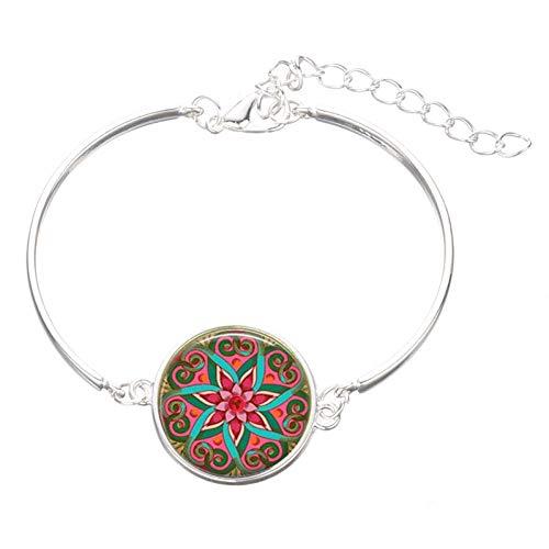 MHOOOA Blume des Lebens 12 Sternzeichen Armband indische Henna Yoga Schmuck Bunte Mandala Blumenmuster Armbänder für Frauen