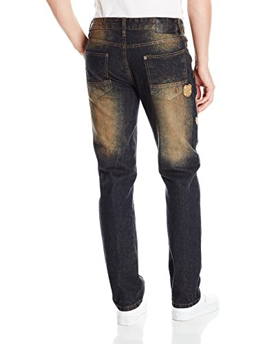 Southpole Herren Jeans / Straight Fit Jeans Tinted Wash Blau