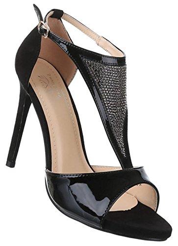 Damen-Schuhe Pumps | Frauen High Heels mit Schnalle und 11 cm Stiletto-Absatz in verschiedenen Farben und Größen | Schuhcity24 | Abendschuhe in Lacklederoptik | mit Strass Steinen Schwarz