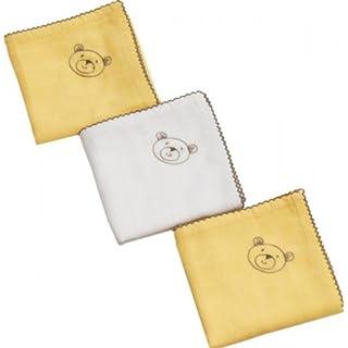 Be Be's Collection 999-49 Exclusive Mullwindeln 60x60cm mit Stickerei 3er Pack weiss/gelb