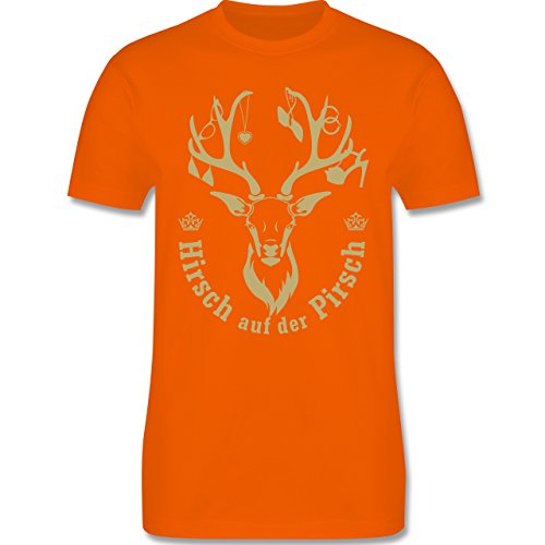 JGA Junggesellenabschied - Hirsch auf der Pirsch - Herren Premium T-Shirt Orange