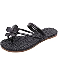 2018 Fashion Women Flowers Decoration Rome Style Flat Heel Anti Skidding Beach Shoes Sandals Outdoor Slip