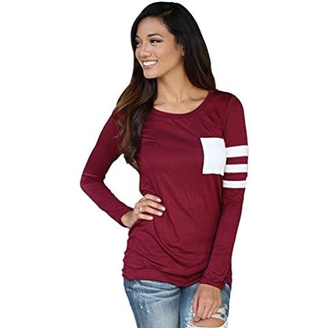 Fortan Womens girocollo manica lunga camicia Spliced camicetta supera maglietta