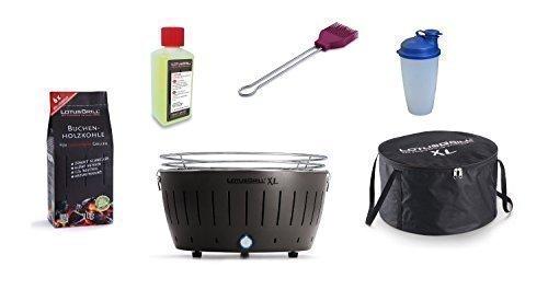 LotusGrill XL Kit débutant 1x gris anthracite 1x charbon de bois du livre 1kg, 1x Pâte brûlante 200ml, 1xmarinierpinsel violet prune, 1x Shaker sauce, 1x sac transport - Le raucharme / Table farben.
