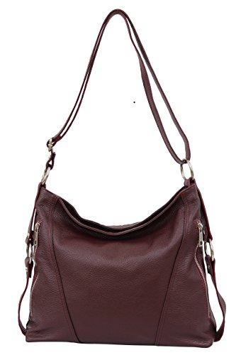 AMMBRA Moda Italienische Damen echt Ledertasche Handtasche Schultertasche Beutel Umhängetasche GL017 Bordeaux Rot