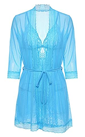 BMAKA Women Lace Lingerie Robe Crotchless Nightwear With G-String Set