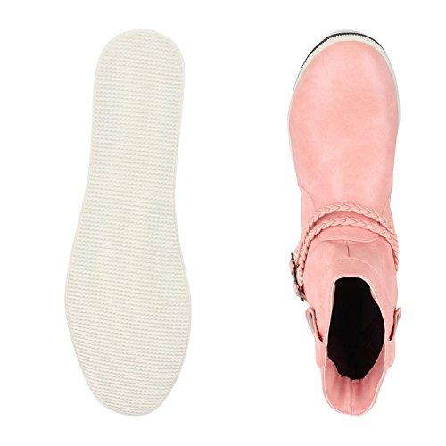 Sportliche Damen Stiefeletten Stiefel Flache Boots High & Low Top Pink Low