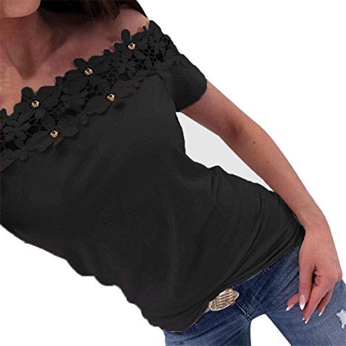 Moonuy Kurzarm-T-Shirt der Frauen 2018 Art- und Weisespitze weg von der Schulter-Spitze aushöhlen tägliches beiläufiges Hemd O-Ansatz dünne Spitzenbluse in der Förderung (EU 36/Asien M, Schwarz)