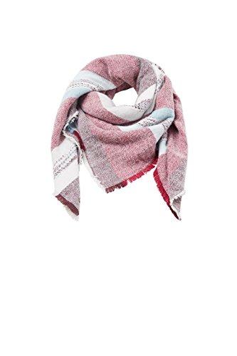 edc by Esprit Accessoires Damen Schal 107CA1Q006 Rot (Bordeaux Red 600), One Size (Square Stripe Schal)