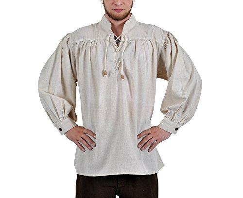 Mittelalter Herren Hemd: Adalbert, mit Schnürung, natur, XXXL (Herren Fantasy Kostüme)