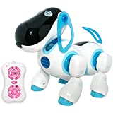 Playtech Logic Amwell Interactive Remote Control Dog Toy For Boys - Walking Talking Rc Robot Toys Kids Led Lights And Sound Childrens Pet Puppy Blue