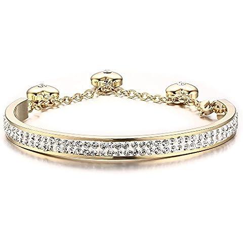 Acero inoxidable chapados en oro 2Fila de Crystal Pave pulseras mujer con 3unidades), diseño de corazón encanto
