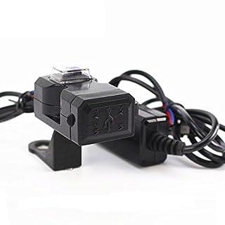 1x Motorrad USB-Ladegerät Wasserdichter Stromanschluss Dual 2 Steckdose Ladegerät Netzteil mit Schalter 12-24 V 2.1 Ampere