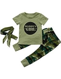 4dccda29a70cd Ropa Bebé ❤ Amlaiworld 3Pcs Recién Nacido bebé niñas Carta Tops + Pantalones  de Camuflaje