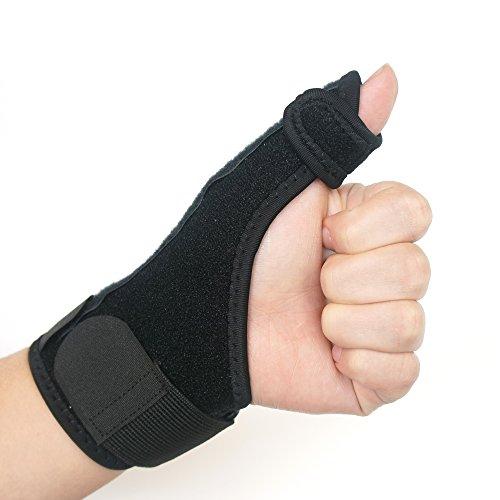 Pollice stabilizzatore coppia con il supporto stecca - KingOfHearts™ stabilizzatore di pollice con stecca in metallo e cinturino da polso regolabile, il lavoro per lesioni di sostegno, protezione sport - mano sinistra (scatola di imballaggio)