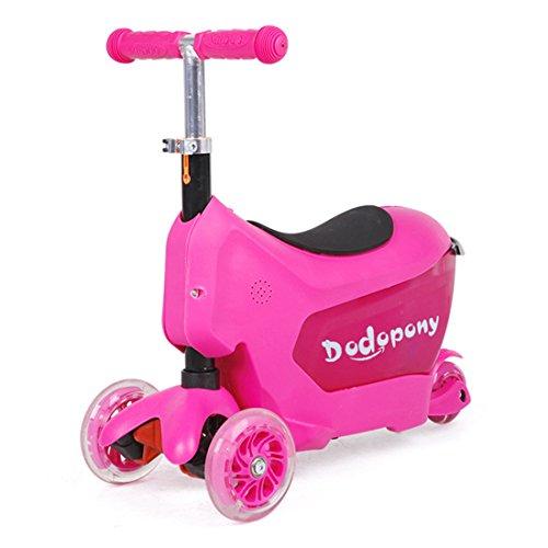 Valigie Per Bambini Bagaglio Valigia Cavalcabile Leggero Trolley Biciclette Tricicli Macchine Veicoli Valigie Adatto per 1-6 Anni,Pink