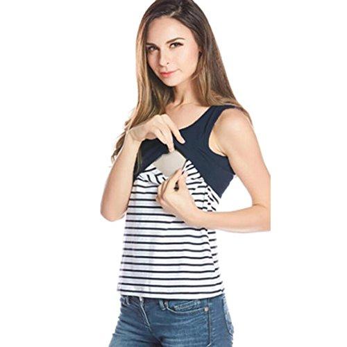URSING_Damen Still Umstands-Top Lagendesign Schwangeres Still-Shirt Gestreift Drucken Stillen Top Kurzarm T-Shirt Bluse Umstandsmode Umstandsshirt Elegente Schwangerschaftsshirt (S, Navy)