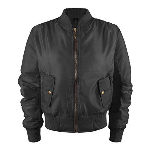 Kinder Mädchen Jungen Kinder Bomber MA1 Stil Jacke Piloten Biker Taschen Mantel Jahre – Schwarz, 92-98 - 2