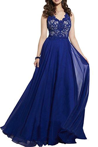 Charmant Damen Royal Blau Elegant Chiffon Spitze Abendkleider Brautmutterkleider Festliche Damen Kleider Royal Blau