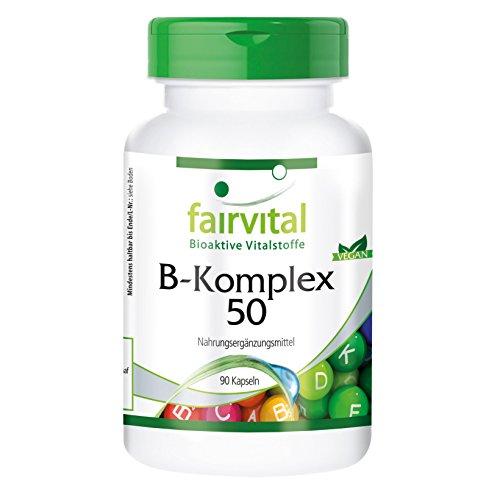 B-50 B-complex Vitamin (B-Komplex 50, mit allen 8 B-Vitaminen plus Cholin und Inositol, vegan, hochdosiert, 90 Kapseln, 3-Monatsversorgung - für ein gutes Nervensystem und Immunsystem, mehr Energie und geistiges Wohlbefinden)