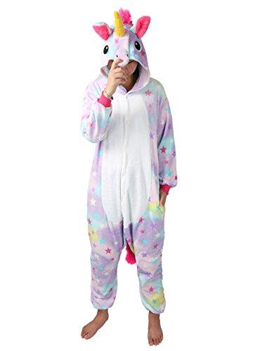 chuangminghangqi Pyjamas Einhorn Jumpsuit Kostüm Overall Flanell Erwachsene Unisex Karnevalskostüme Cosplay (Medium, Stern)